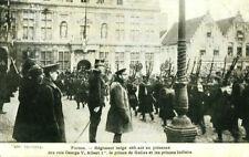 WWI postcard defiant Belgian regiment in presence of King George V & Albert I