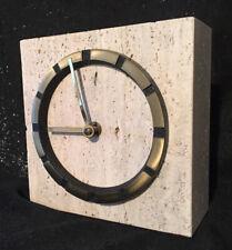 Vintage Travertin Tischuhr Uhr Baumann 3,17 kg 70er Jahre midcentury