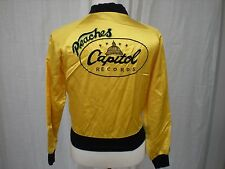 "VINTAGE CAPITOL RECORDS ""PEACHES"" YELLOW SATIN SNAP JACKET SIZE SMALL S"