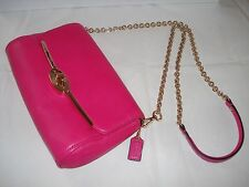 NWT Coach Madison Leather Chain Crossybody Bag 49738 Light Gold/Pink Ruby