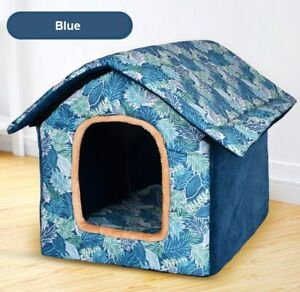 New Warm Pet Dog Cat House Beds Kennel Indoor Tent Cushion Mat Blue Size S-L