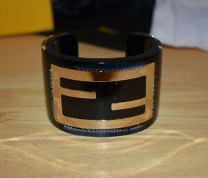 FENDI Black Zucca Large Logo Acrylic Bracelet Cuff