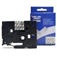 Hermano compatible Tz131 P-touch 12mm Negro Sobre Transparente Tz-131 Etiqueta Cinta