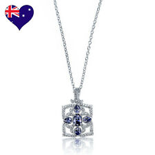 Gatsby Tanzanite Zirconia Rhodium Plated (White Gold)Déco Necklace-Wedding-Gift