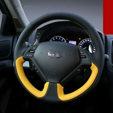 For Infiniti G25 Car Steering Wheel Stitch on Wrap Cover Black&Yellow Leather