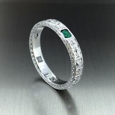 Platinum 950 natural Colombian Emerald & VVS-1 Diamond Eternity Band ring .47ctw