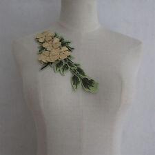 1PCS Gold Trim Lace Applique Floral Collar Neck Motif YL909