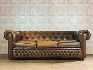 VINTAGE Brown Leather 3 Seater Chesterfield Club Sofa - *£88 DELIVERY*