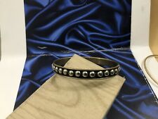Black Enamel Silver Stud Pattern Bracelet Antique Navajo Art Deco Egyptian Style