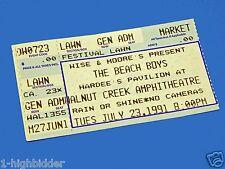 Vintage 1991 Beach Boys Concert Ticket Stub Walnut Creek Amphitheater July 23