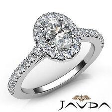 Oval Cut Diamond Engagement GIA F VS2 U Shape Prong Set Ring 18k White Gold 1Ct