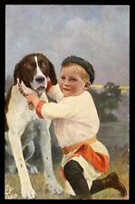 Germany Boy and dog Tuck Oilette 352B Vintage PPC
