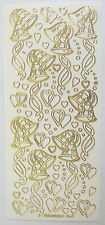 WEDDING BELLS HEARTS & RIBBONS WHITE AND GOLD PEEL OFF STICKERS CARDMAKING