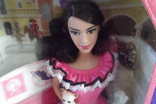 New Dolls Of The World Mexico Barbie With Chihuahua Ruffled Pink Dress