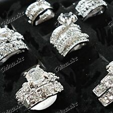 10pcs  Zircon Czech Rhinestones 2 in 1 Couple Mix Rings Wholesale Jewelry Lots