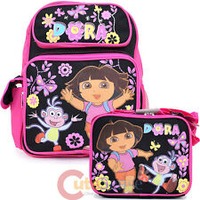 "Dora The Explorer Medium 14"" School Backpack Lunch Bag Set : Flower Garden"