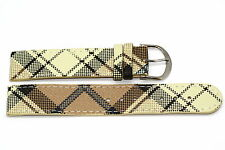 14mm Yellow Beige Plaid Print Stitched Watch Band Strap