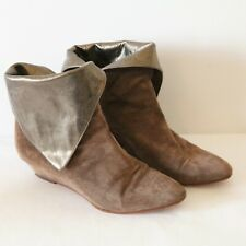 Casadei 80s Brown Suede Metallic Leather Ankle Booties Wedge Pirate Flap 8 Boots