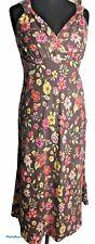 Este vestido Talla 10 100% Lino Maxi Floral Rosa Amarillo Marrón para Mujer sin mangas