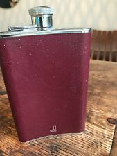 More details for dunhill hipflask chrome and burgundy leather 1980s