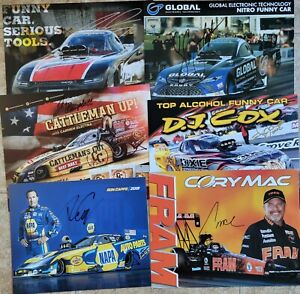 Lot Of 6 Signed NHRA Handouts Ron Capps Cruz Cory Mac and More  *ALL SINGED*