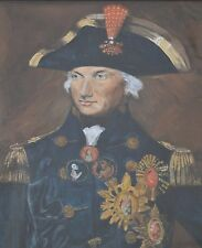 Vice Admiral Horatio Lord Nelson Watercolour by P. I Wood Signed 1944