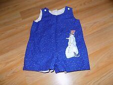 Size 12-18 Months Homemade Holiday Romper Shortalls Jon Jon Blue Snowman EUC