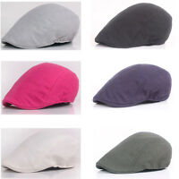 Men Classic Plain Cabbie Peaked Ivy Beret Hat Driving Flat Golf Newsboy Cap NEW