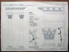 Architectural drawing of details from The Pantheon, Rome, signed.