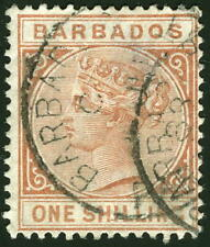 Barbados 1886 1s Victoria faulty Watermarked Crown and CA SG# 102 used £21 $27