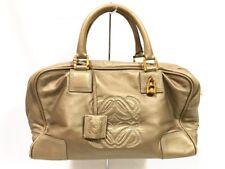 Auth LOEWE Amazona 36 Gold Nappa Leather Handbag