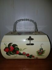 Vintage Vicki Jean wood purse or Jewelry Box. Hand Painted with 3D strawberries.