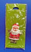 Hallmark PIN Christmas Vintage SANTA Olive Mittens Holiday RARE GREEN CARD NEW
