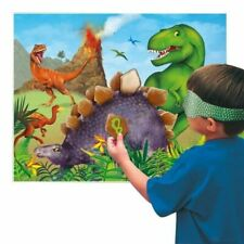 DINOSAUR PARTY PIN GAME POSTER WALL DECORATION JUNGLE JURASSIC 12 STICKERS