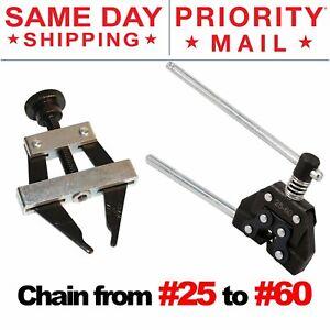 Roller Chain Tool Kit Breker Cutter + Puller Holder #25 - #60