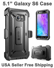 SUPCASE For Galaxy S6 Full Body Rugged Holster Case & Screen Protector Black