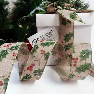 CHRISTMAS RIBBON BURLAP BERRY HOLLY WIRE EDGED CRAFT BOW GIFT WRAPPING 'HOLLY'