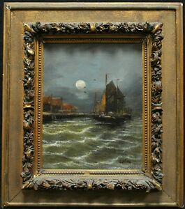 19th CENTURY FRENCH IMPRESSIONIST MOONLIT SEASCAPE ANTIQUE MARINE OIL PAINTING
