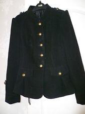 Nero Stile Militare Cappotto Giacca SZ 8 PUNK GOTH nuovo senza etichette