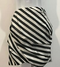 MANNING CARTELL SILK SKIRT BLACK WHITE WIDE STRIPES SIZE 8