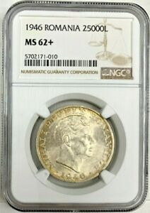 Romania 1946 Silver Coin 25000 Lei King Michael I Graded by NGC MS62+