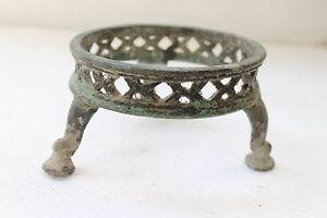 Antique Old Handcrafted Brass Jali Cut Work Fine Quality Tripod Pot Stand NH3038