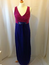 (052) Boden magenta and blue colorblock glamorous maxi jersey dress size 8R