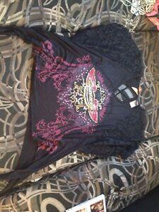 HARLEY DAVIDSON Wings Ladies BLING & CRYSTAL Shirt Gray Med NWT