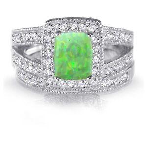White Gold Emerald Cut Green Fire Opal Engagement Wedding Silver CZ Ring Set