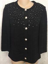 St John Collection Cardigan Jacket Black Pearl And Rhinestone Design Size P(4)
