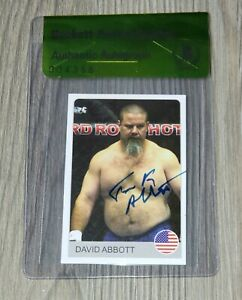 TANK DAVID ABBOTT SIGNED AUTO'D 2007 RAFO BORCI STICKER CARD #97 BAS COA UFC MMA