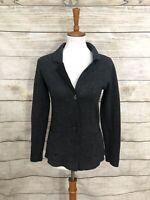 Benedetta B Womens Cardigan Sweater Blazer Gray Small Merino Wool Cashmere Italy