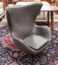 Mid Century Arne Jacobsen Egg Chair Brown Leather Repro Midcentury