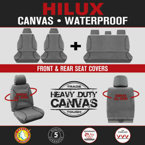 For Toyota HiLux Dual Cab 2009-2015 TRADIES Grey Canvas Seat Covers